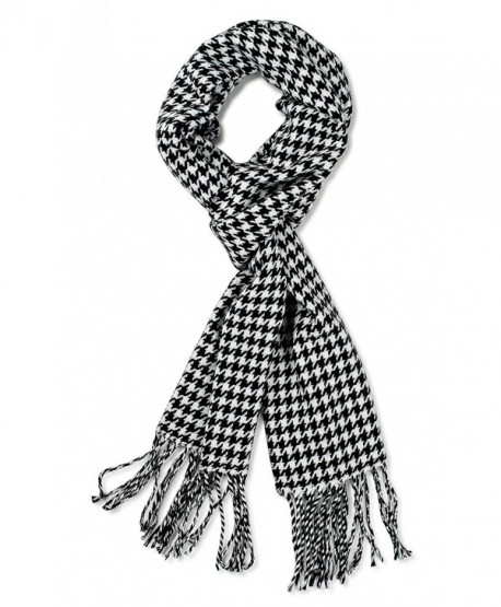 DRY77 Super Soft Luxurious Classic Cashmere Feel Winter Scarf for Women and Men - Black White Houndstooth - C412N421TL9