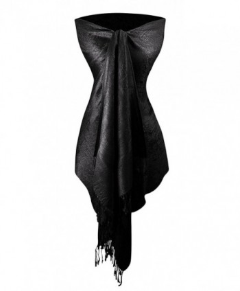 Peach Couture Womens Elegant Vintage Solid Jacquard Paisley Scarf Shawl Wrap - Black - CY187UCL24X