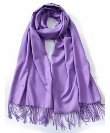 Cindy & Wendy Large Soft Cashmere Feel Pashmina Solid Shawl Wrap Scarf for Women - Lavender - CE188HNRIQO