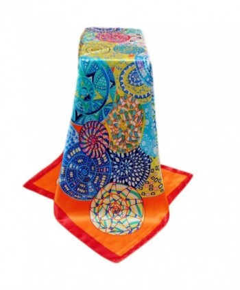 "Spring Fashion Womens Print Square Scarves-Large 35""35"" Wrap Scarf - Orange - CZ182EDAK49"