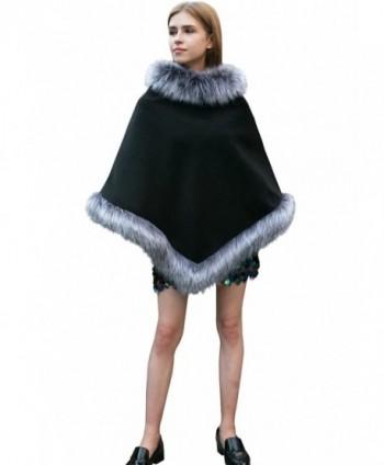 Dikoaina Fashion Women Faux Fur Trim Layers Poncho Shawl Cape Cardigan Sweater - Gery - CM187I6CKSZ