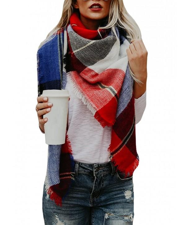 PiePieBuy Women's Top Fashion Oversized Plaid Scarf Winter Scarf Shawl Cape Tassel Pashmina - Multicolor - CF187K6O64S