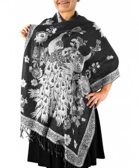 Peach Couture Floral Peacock Reversible Shimmer Layered Pashmina Wrap Shawl Scarf - Black/White - CK1875MHYMT