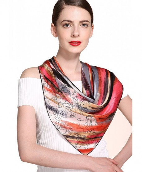 ADVANOVA Ideal Gift for Women 100% Silk 35'' x 35'' Square Scarf Gift Box - Red Brown - C11868H7WD0