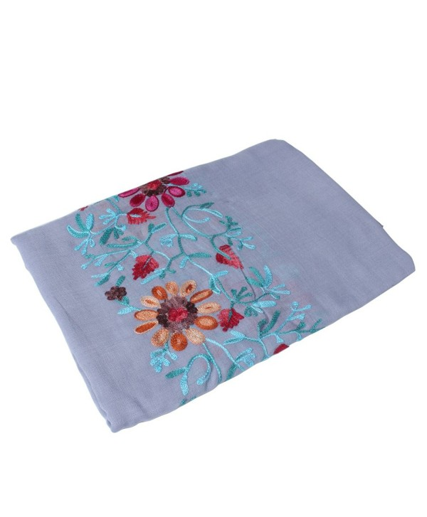 Vankerful Colorful Embroidered Floral Shawl Wraps-Soft Cotton Long Scarves for Women Hijab Fall - 032lavener - CU1852EWI2H