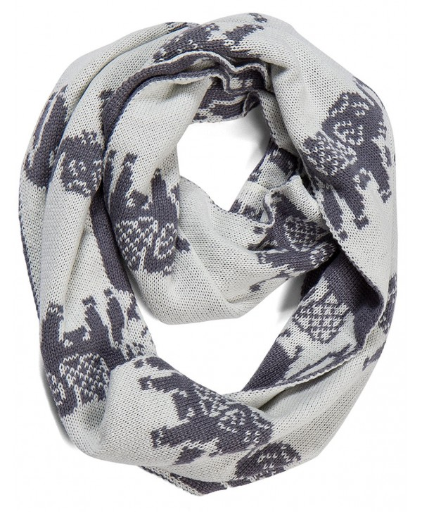 AOLOSHOW Winter Reversible Knit Infinity Circle Scarfs Various Styles & Colors - Elephant - Slate Grey - CX128MFK23B