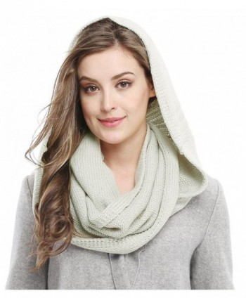 Winter Soft Pullover Knit Infinity Scarf Beanie Hoodie Scarf - Light Grey - C21887TD5MT