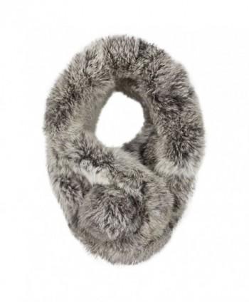 Women Winter Thick Faux-Fur Scarf Cute Plush Infinity Collar Scarf Cozy Warm Neckerchiefs - Dark Gray - CI1884KW9K6
