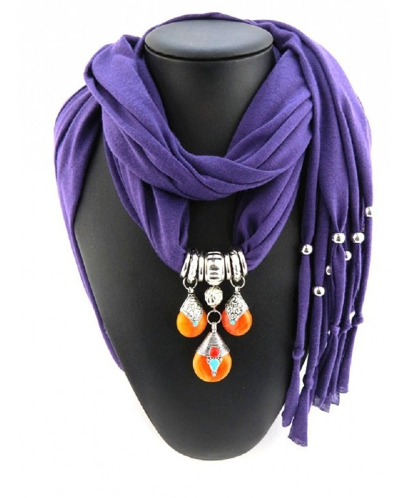 Ysiop Women Dacron Solid Tassel Necklace Scarf Pendant Shawl - Purple - C912GEASL5B