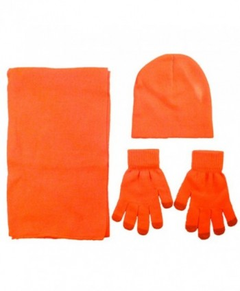 AshopZ Adult Acrylic knit set- Scarf Beanie and Touchscreen Gloves - Orange - CL11PVPOZI9