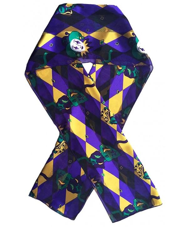 Mardi Gras Scarf Fleur De Lis Scarf By Crown - Mardi Gras Purple - CM1281NMOY9
