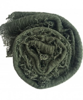 Crimp Frayed Edges Crinkle Maxi Scarf Cotton Hijab Scarves UK - Crinkle Olive 40 - C41839KERHU