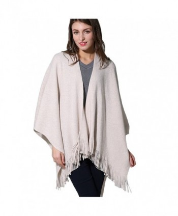 ZISUEX Women Cape Shawl Wrap Fashion Scarf Open Front Poncho Cape Cardigans (Beige) - CP186LOSWUH