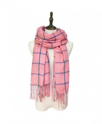 Hippih Women's Tassels Soft Plaid Scarf Winter Large Warm Blanket Wrap Shawl - Pink - CF186DI306Y