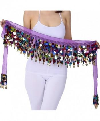 ZLTdream Belly Dance Color Film Gong Hip Scarf Chiffon - Purple - CC12IQZAOMP
