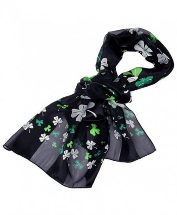 Purple Box Jewelry Shamrock Scarf One Size (Black) - CQ11CTF4DZT