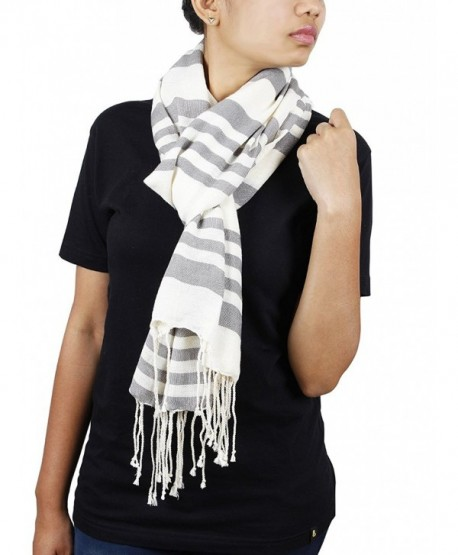 Store Indya- Cotton Scarf Scarves Stole Wrap Hand Woven Fashion for Women Girls - White - CI12728BN37