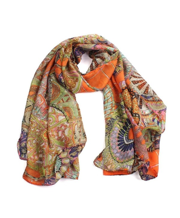 Baomabao Women Fashion Women Girl Chiffon Printed Silk Long Soft Scarf - Orange - CS12CYA6ZDF