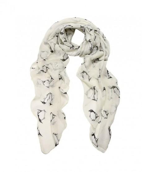 Wensltd Clearance Women Lady Penguin Print Shawl Voile Scarf - White - C512C8EKTDZ
