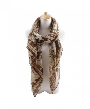 Herebuy - Designer Animal Scarves: Fashionable Elephant Print Scarf - Coffee - C011QB9B7GR