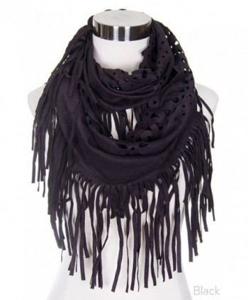 ScarvesMe Fashion Faux Suede Fringed Laser Cut Infinity Scarf - Black - CS12C953EOT