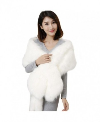 Deamyth Women Long Faux Fur Scarf Imitated Fox Fur Cape Stole Shawl Wrap Winter - White - CJ12NUP60T2