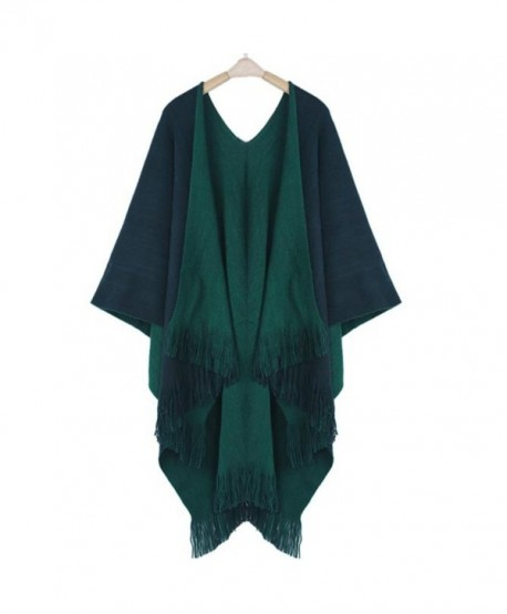 DEESEE(TM) Women Winter Knitted Poncho Capes Shawl Cardigans Sweater Coat - Green - CH12MZTI2KM