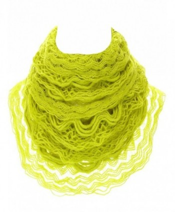 Women's Knit Multi Layer Ruffle Infinity Scarf - Mustard - CD11POQ6CBD