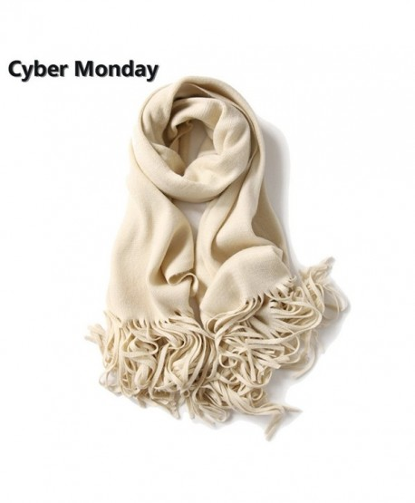 zulves Cashmere Scarf Pashmina Shawl Wrap Elegant Scarves Crochet Scarf Winter Cape - Ivory - C0188NL230C