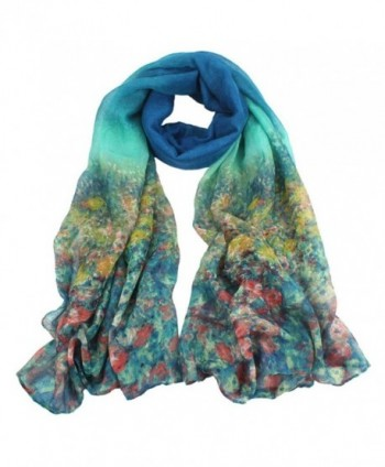 TAORE Soft Light Weight Vintage pastoral Print Sheer Infinity Scarf - Light Blue - C612M4DC54L