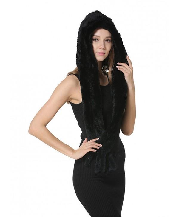 MEEFUR Knitted Real Fur Shawls Warm Wrap Hat Earmuffs Rex Rabbit Fur Hoody Scarves - Black - CN182AT7OSZ