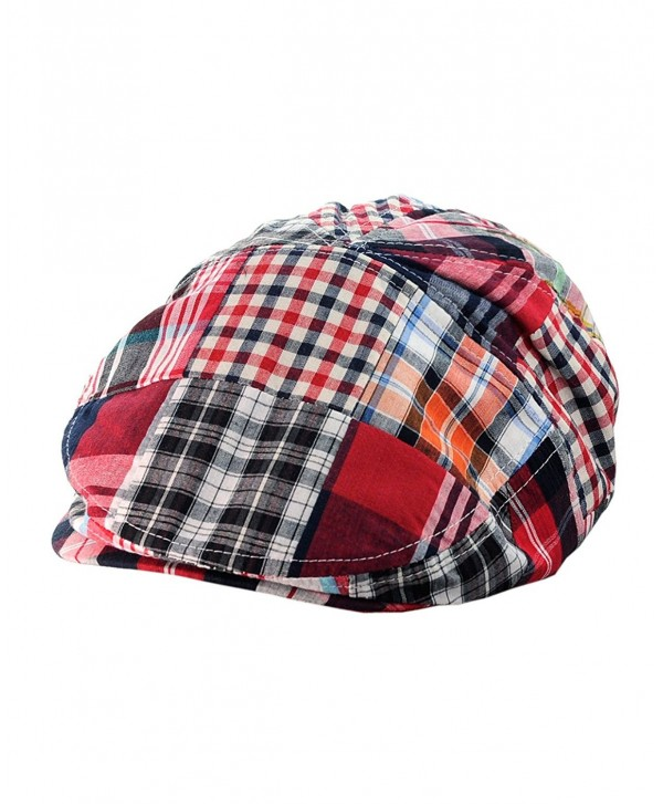 NYFASHION101 Men's Multicolor Plaid Patchwork Buttoned Duck Bill Newsboy Ivy Cap - Red - CL11Y7EKETT