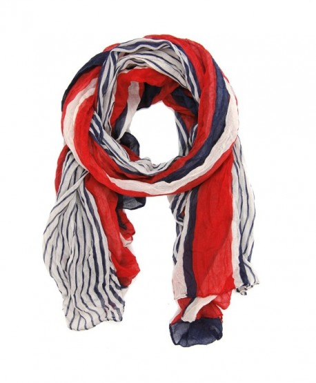 Bucasi Nautical Red White and Blue Stripe Scarf - C211FLRUS83