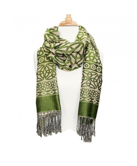 Ladies Celtic Heritage Scarf- Ancient Celtic Style Design- Moss Green - C812G20EXAF