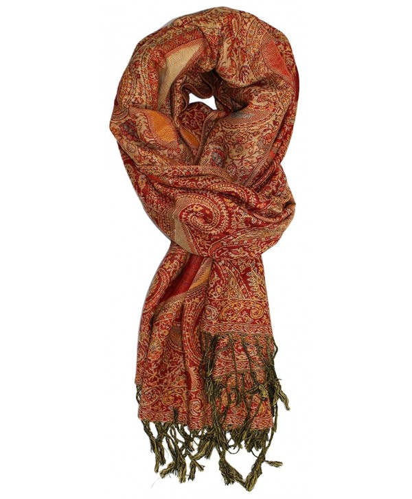 Ted and Jack - Luxe Teardrop Paisley Reversible Pashmina - Red and Gold - C4127UXZA0P