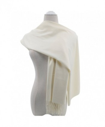 Pashmina Scarf for Women- Vimate Cashmere Feel Plain Colors Pashmina Shawls and Wraps - Off White - CA180L0TON4