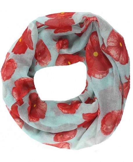 Lina & Lily Poppy Flowers Print Women's Infinity Scarf Lightweight - Pale Blue - CR11SLB04GR