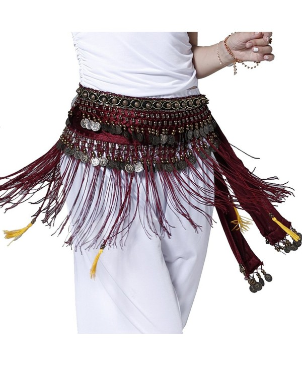 Pilot-trade Belly Dance Tribe Style Belt Tassel Hip Scarfs Velvet Waist - Rose Red - CS11TXPU4IX