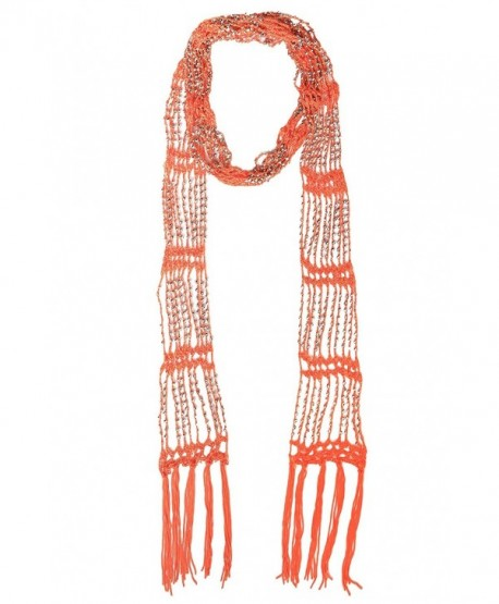 KMystic Beaded Crochet Skinny Long Scarf - Orange - CW12F5LHZKN