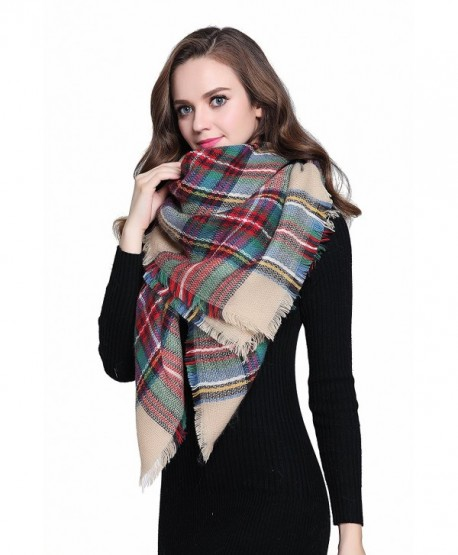 """Buttons and Pleats Women Plaid Blanket Shawl Scarf for Fashion Wear & Winter - """"Camel (Size 56""""""""x56"""""""")"""" - C612J8V63WR"""