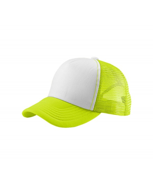 EnimayUnisex Men's Women's Solid & Two-Tone Mesh Baseball Style Trucker Hat - Two-tone Neon Yellow - CF122TIJE6X