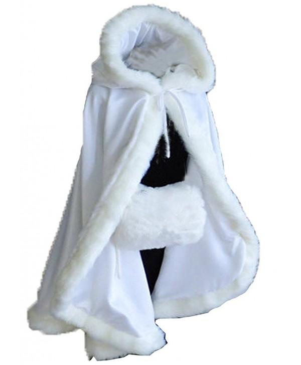 Aiyi Women's Winter Cloak Hooded Faux Fur Edge Short Bridal Christmas Wraps - White - CJ187NTCKES