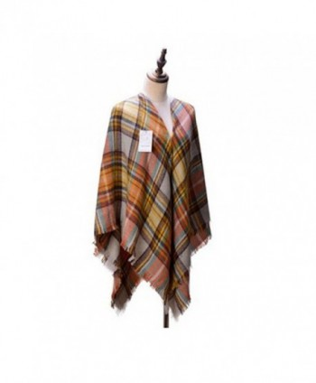 Women's Cozy Tartan Scarf Wrap Shawl Neck Stole Warm Plaid Checked Pashmina - C111TTT542T