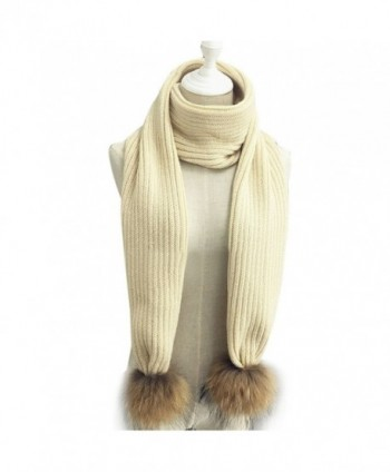 LITHER Women Winter Knitted Scarf Detachable Large Real Raccoon Fur Pom Pom - Beige - CX12N4Q2LC6