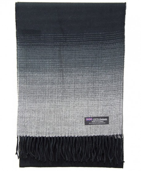 2 PLY 100% Cashmere Scarf Elegant Collection Made in Scotland Wool Solid Plaid - Black White Fade - CO188AERAIX