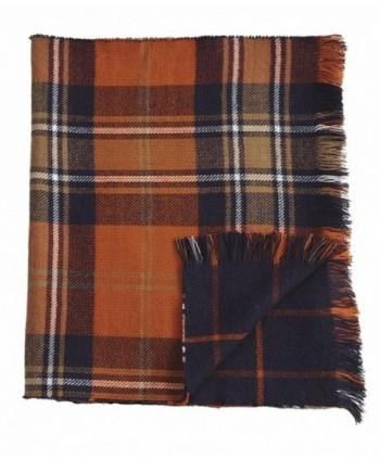 Mud Pie Knit Plaid Blanket Reversible Scarf - Navy - CC12GM1Y6OD
