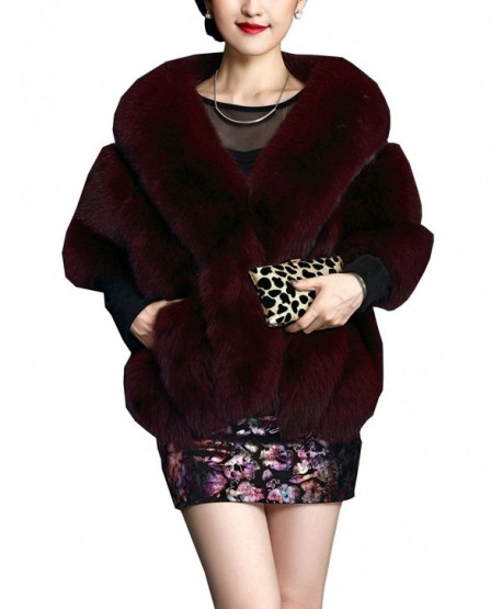 MorySong Winter Warm Faux Fur Bridal Shawl Wraps Cape For Wedding/Evening/Party - Burgundy - CP12N6BZN3P