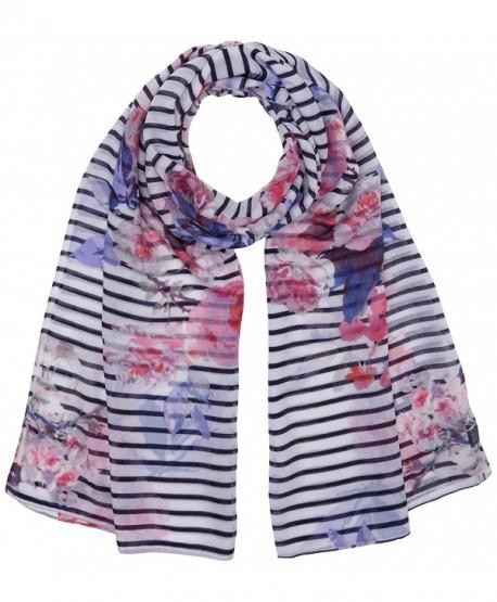Joules Women's Wensley Longline Printed Scarf - Navy Bloom Stripe - CH12N3DSLJK
