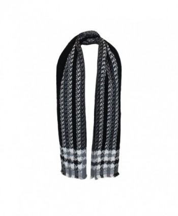 Black Woven Houndstooth Blanket Scarf in Fashion Scarves