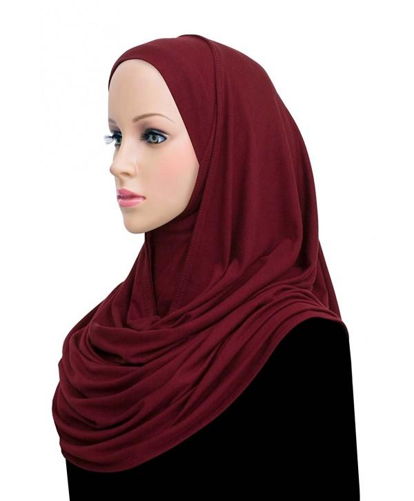Khatib Jersey Cotton Hijab Easy Instant Headscarf Wrap - Maroon - C117YCRGCWT